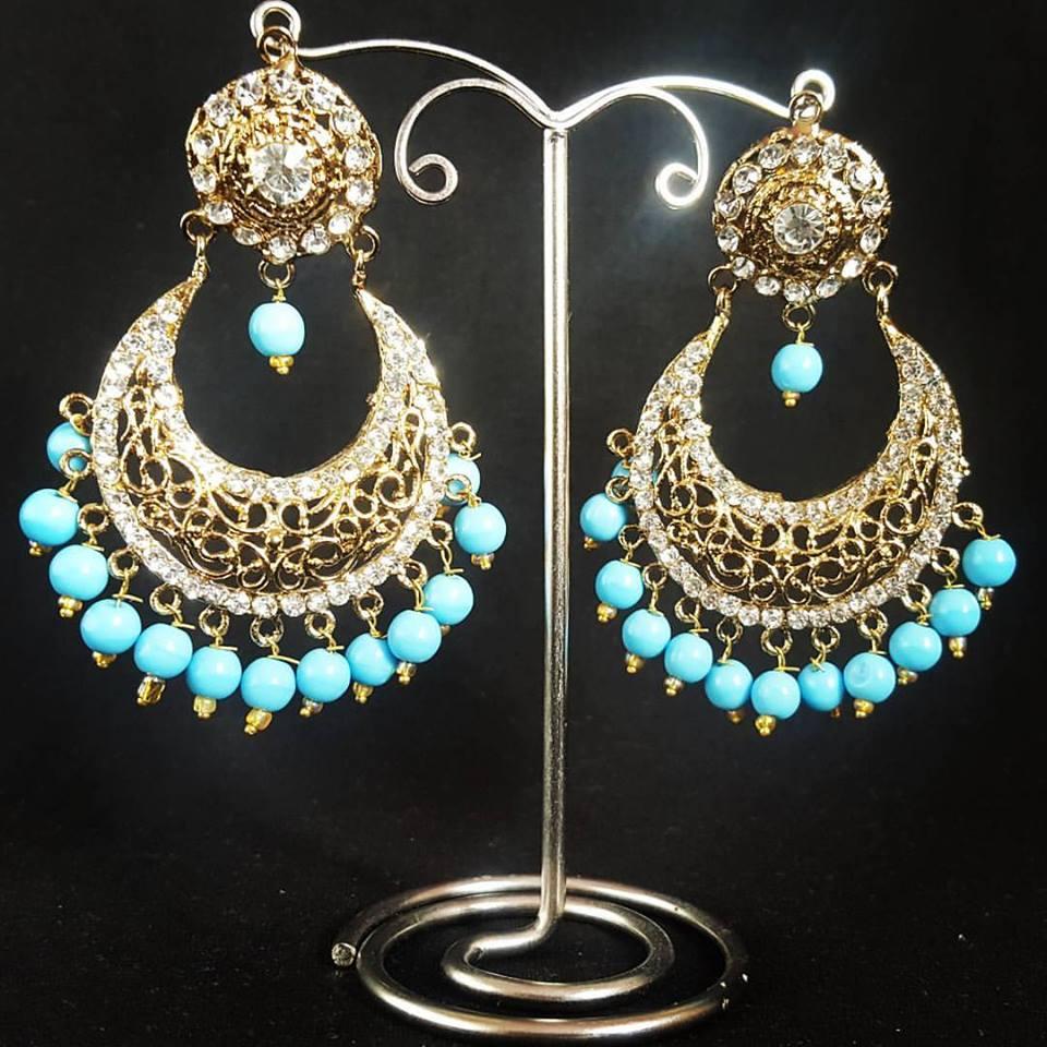 Feroza Pearl Antique Gold Earrings